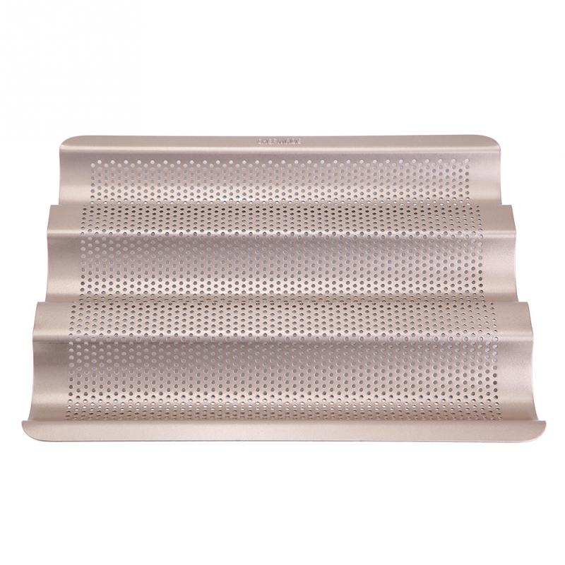 French Bread Pan Baguette Baking Tray Perforated 3-slot Non Stick Golden Baguette Baking Tray Tools