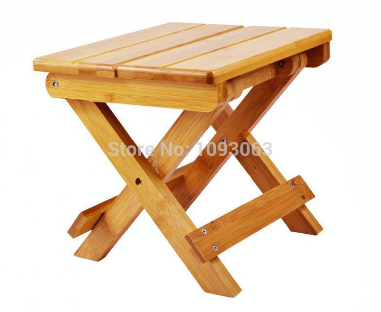 Thick Solid Durable Bamboo Wood Folding Stool Portable