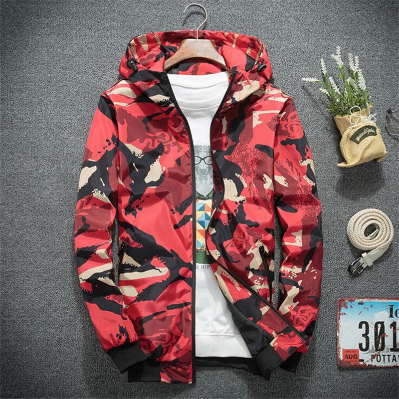 Camouflage Jacket Men Hoodies Zipper Coat Windbreaker Jacket Mens Casual Jackets 2019 Autumn Bomber Outwear Plus Size 4XL