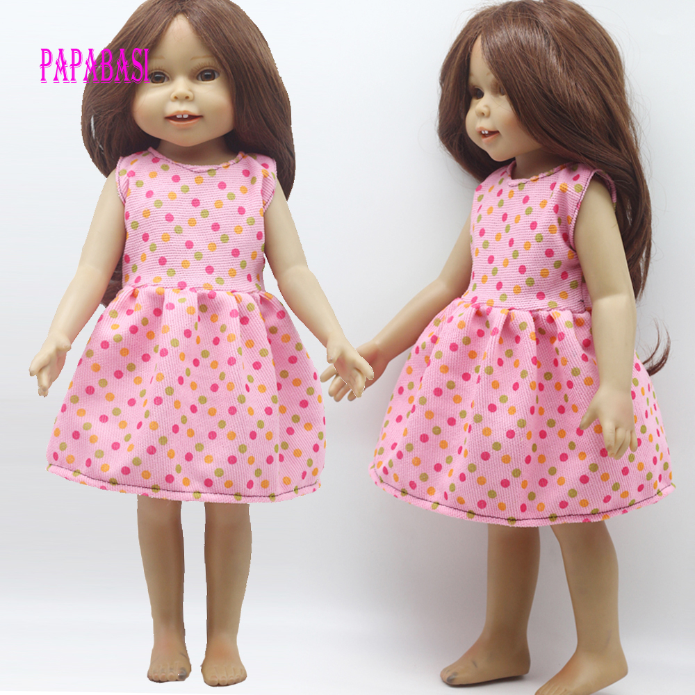 1PCS Doll wave point dress for 18 inch Dolls American Girl doll Clothes girl toy gift 9 colors american girl doll dress 18 inch doll clothes and accessories dresses