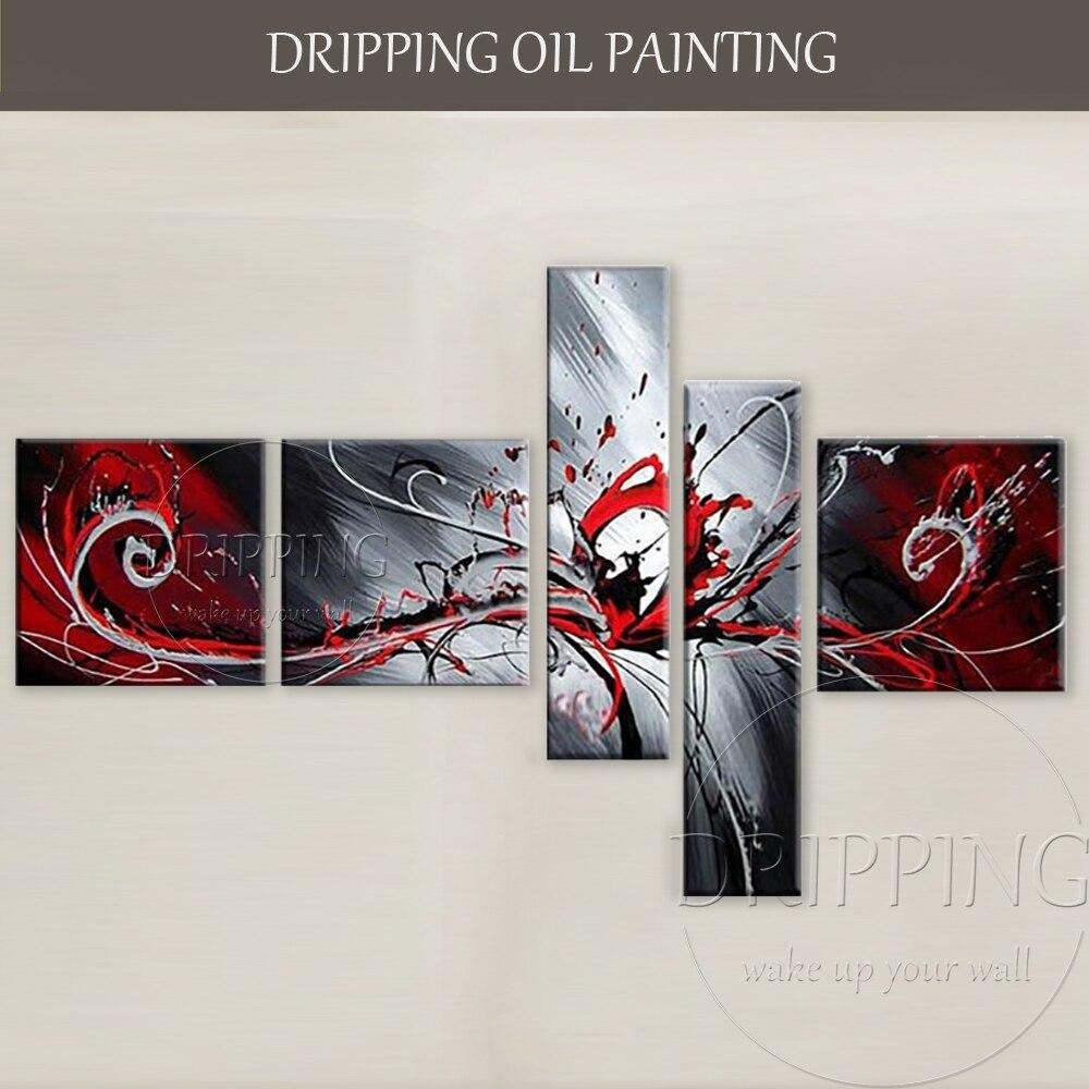 Livraison gratuite peint à la main 5 panneaux mur Art peinture abstraite peinture à l'huile 5 pièces groupe abstrait peinture à l'huile pour salon