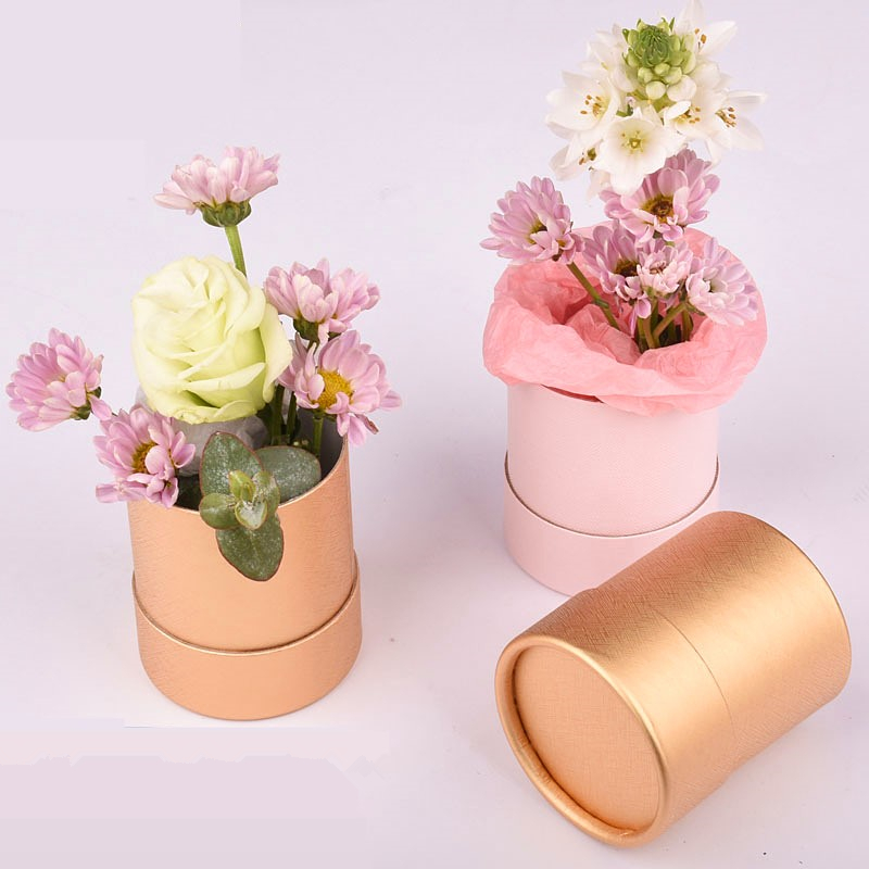 5pcs Round Paper Flower Boxes With Lid Florist Bucket Valentine's Day Rose Present Packaging Box Home Decor Wedding Decoration