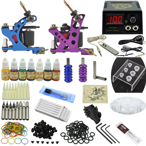 Fashion Tattoo Art Complete Tattoo Kit 2 Machine Guns Set Equipment Power Supply 7 Color Inks MC-KIT-A2002 10-0066 фотообои national geographic olive tree 3 68х2 54 м