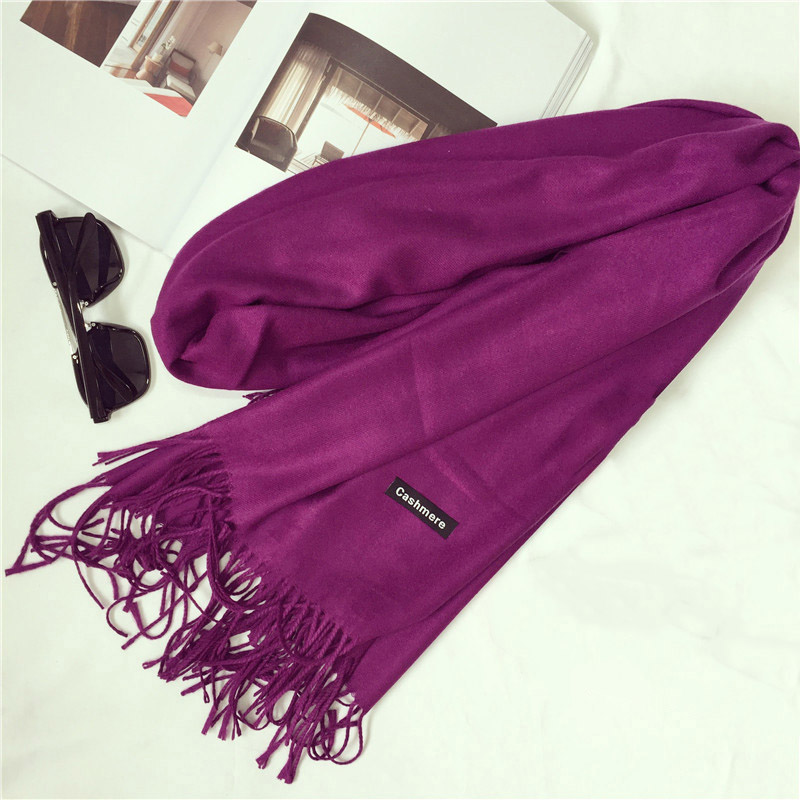 Scarves & Wraps: Shawls and Scarves Cashmere Cape Plain Winter Warm Scarf Luxury Brand Pashmina Soft Scarves Female Tassel Cashmere Women Scarf
