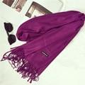 Chales y Bufandas de Cachemira Capa Llanura Bufanda Caliente Del Invierno de Lujo de la Marca Bufandas de La Borla de las Mujeres de Cachemira Pashmina Suave Bufanda de Las Mujeres