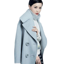 Europe and America Style Long Section Woolen Overcoats Winter Thick Turn-down Collar Double Breasted Slim Wool Coats   BG934