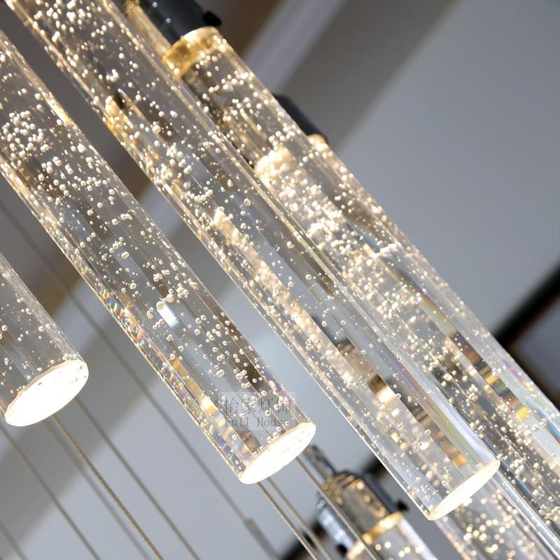 Spiral Crystal Chandelier Led Stair Lighting Hotel Stairwell Lamp For Living Room Long Spiral Crystal Light G4 Led Lustre Light Ceiling Lights & Fans