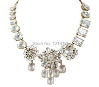 2013 CRYSTAL COLLAGE Gem Glass Stone Rhinestone Wedding Party Statement Brass Bib Necklace Choker JS N