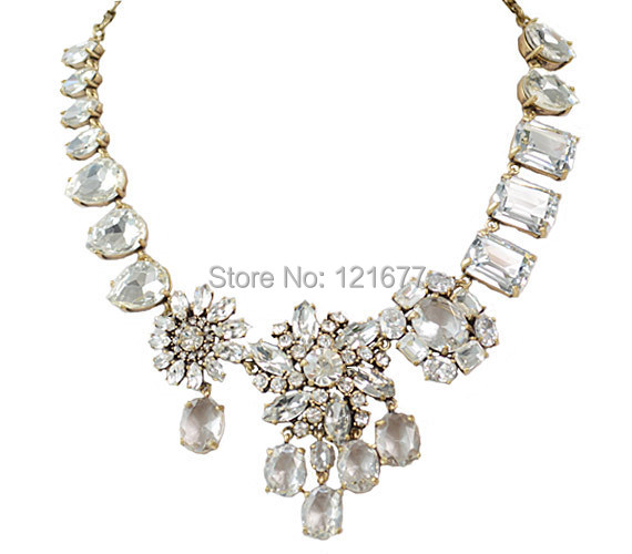 Personalized Unique Brand Design Gem Glass Stone Clear Rhinestone Wedding Party Statement Brass Bib Necklace Choker