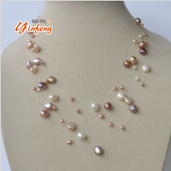 [MeiBaPJ] S925 silver clasp natural freshwater pearl necklace Multi layer white/gold/colar for the public to wear fine jewelry