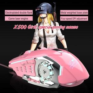 Image 3 - Мышь компьютерная игровая Механическая для девочек, 3200 точек/дюйм, розовая/белая