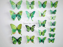 Free shipping 12pcs PVC 3d Butterfly Wall stickers Home decor colorful green Butterflies Decals Decoration