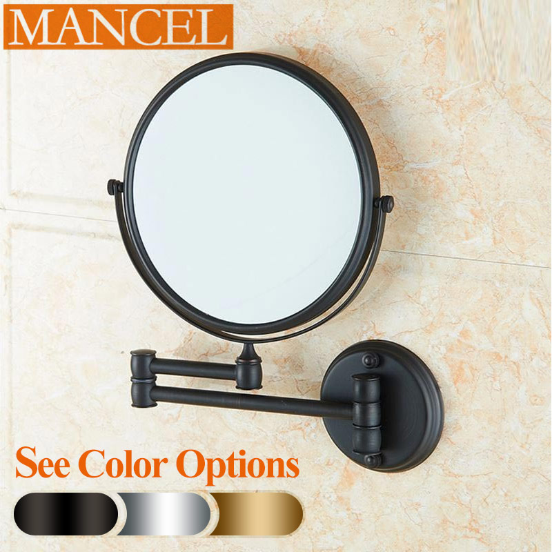 Us 65 0 Mancel 8 Oil Rubbed Bronze Br Makeup Mirrors 1x3 Magnifier Cosmetic Bathroom Double Faced Wall Mounted Bath Mirror 4 Colors In