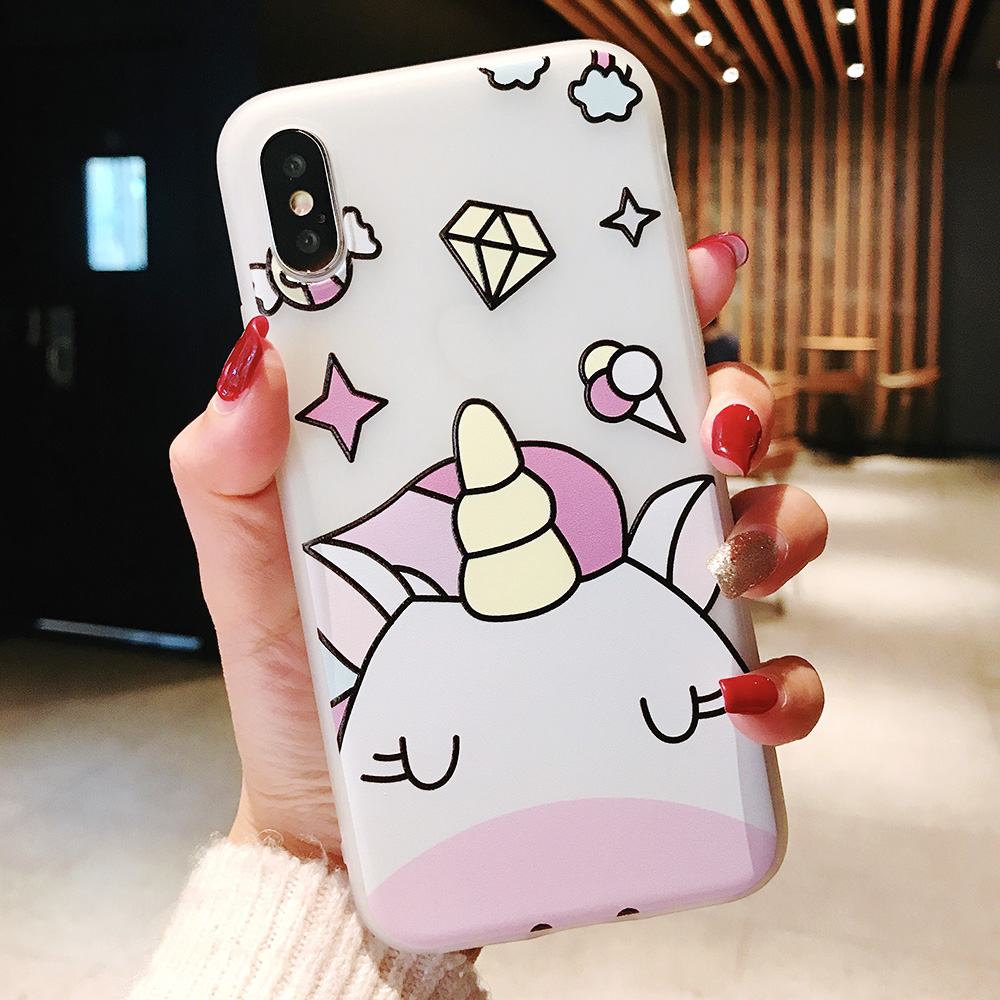 KIPX1104W_1_JONSNOW Phone Case For iPhone XS Max XR XS 6 6S 7 8 Plus Funny Cute Emboss Unicorn Pattern Soft Silicone Cover Cases Capa Fundas