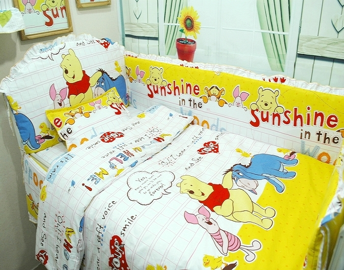 Promotion! 9PCS Baby Bedding Set Cartoon Crib Bedding Set for Girls babyb bumper/sheet/pillow/duvet,120*60/120*70cm
