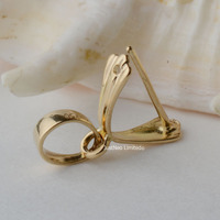 12mm 18karat Yellow Gold Pinch Bail Pendant Clasp Connector Pin Style Pendant Catcher Go Through Up