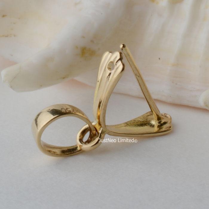 12mm 18 carats or jaune pince bail pendentif fermoir connecteur, pin style pendentif receveur passer par up 3.6mm collier corde
