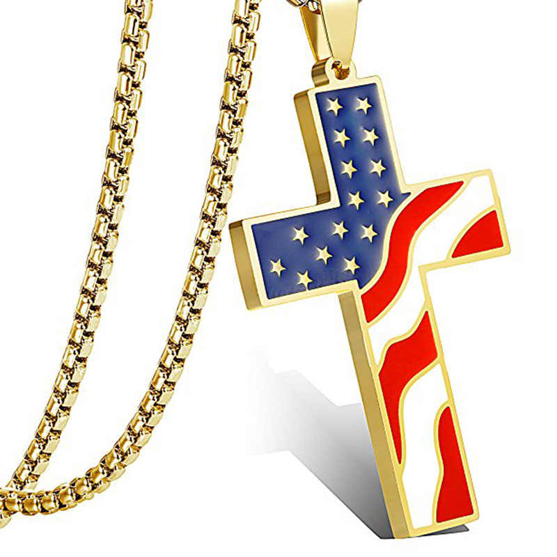 DICAYLUN American USA Flag Necklaces Gold Cross Pendant Stainless Steel Enamel Jesus Religion Jewelry Amulet Gifts for Christian