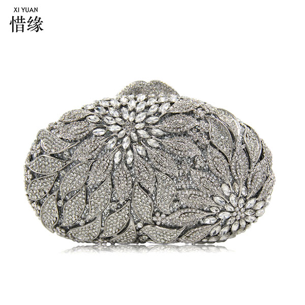 XIYUAN BRAND Elegent Women Evening Clutches Bride Handbag Luxury Flower Beaded Messenger Bag Evening Bags Cheongsam clutch Purse 2017 new mini shoulder messenger bag famous brand luxury elegant bead evening bag clutch pearl handbag bride bags for wedding