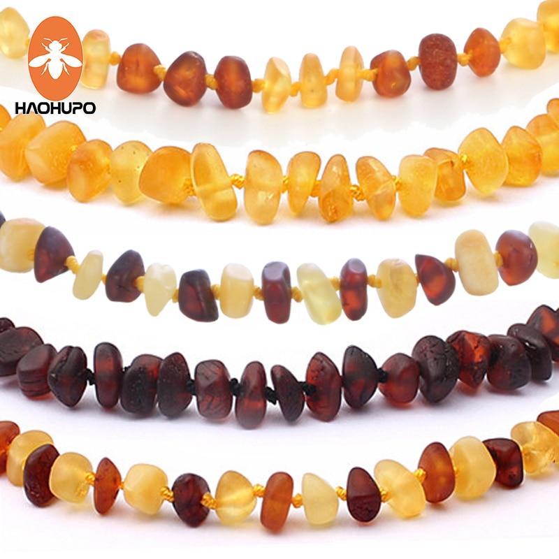 HAOHUPO 16 colores ámbar dentición pulsera/Collar para bebé adulto laboratorio probado auténtico 8 tamaños Natural ámbar piedra mujeres joyería