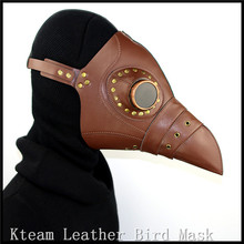 Top Grade PU Leather Steampunk Steam Punk Gothic Bird Beak Mask Goggles Plague Doctor Mask Hood Hallowee Role Play Costume Props