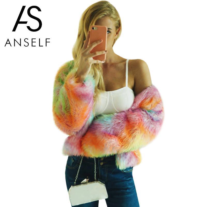 Anself Winter Fashion Women Faux Fur Coat Open Front Thick Warm Fluffy Jacket Top Fake Fur Outerwear Overcoat Pelliccia Donna