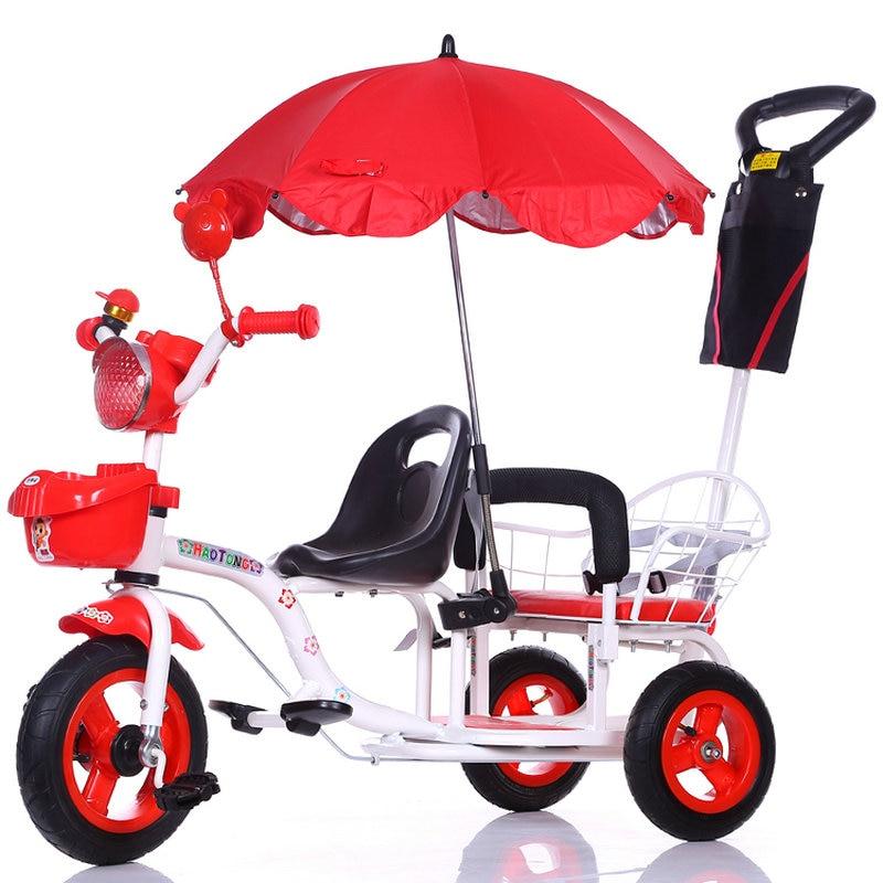 12-дюймовый детский трехколесный велосипед, близнецы велосипед ребёнка выпуска 2 сиденья со складками на педаль тандем трехколесный велосипед с резиновая надувная подушка безопасности для колеса и стальная рама - Цвет: 210