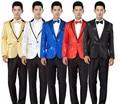 Мужчины Золото Блесток Костюм Черный Белый Красный Синий Золото Блесток Blazer Куртка Костюм Мужчины Костюм Этап Хозяин Блесток Золото Куртки костюм
