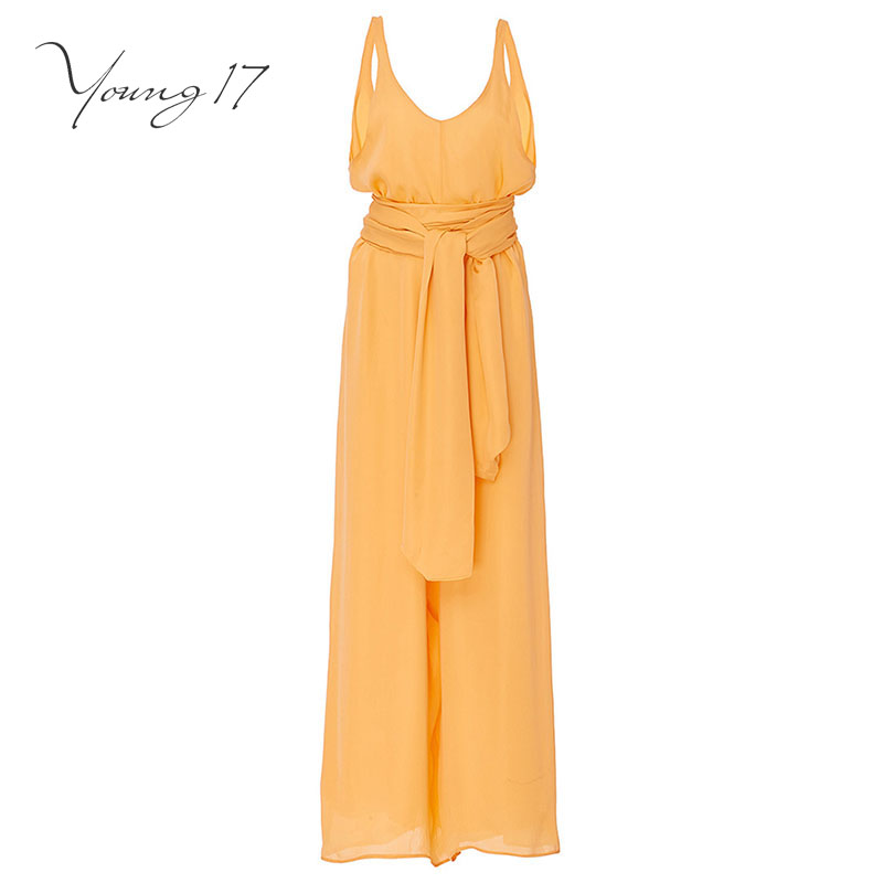 Young17 jumpsuit 2017 new sexy club jumpsuits lady ruffles backless solid yellow lace up jumpsuit long wide legs work jumpsuits