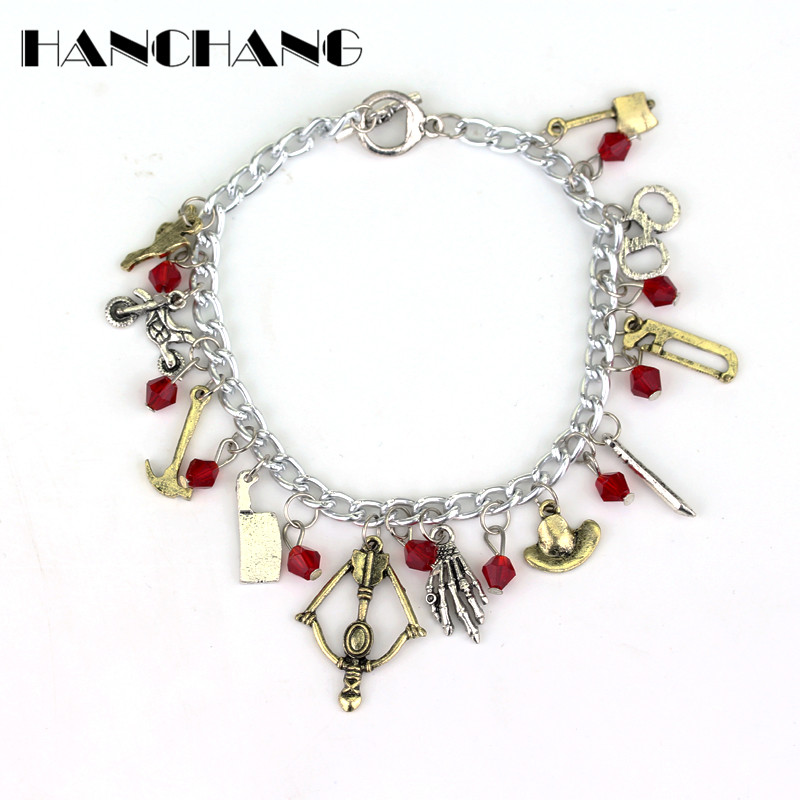 Walking Dead Wrist band bracelet Jewelry DIY Crystal Beads Pendants Bracelets Metal Chain Bangle a bracelet for Women Girls gift