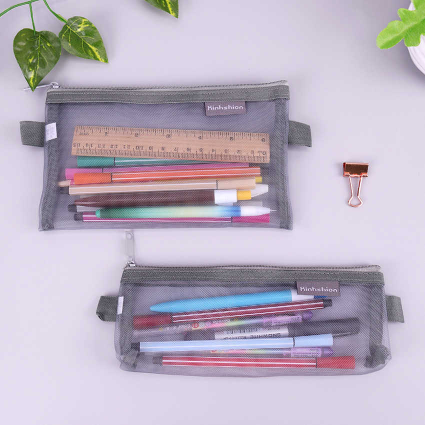 Creative Pencil Case Transparent Mesh School Pencil Box Pencilcase Pencil Bag for Kids Learning School Supplies Stationery