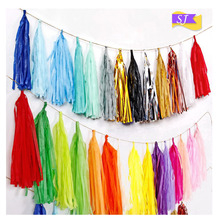 5pcs Paper tassel ribbon pull flower wedding birthday party holiday background decoration color paper balloon