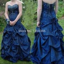 Abendkleider marineblau lange prom kleider 2016 ballkleid schatz-wulstige formale party kleider frauen abendkleider vestido longo