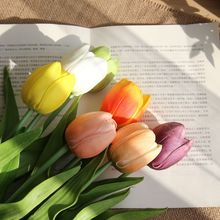 10pcs / lot pu simulation tulip artificial flower real touch latex festival wedding & family decoration