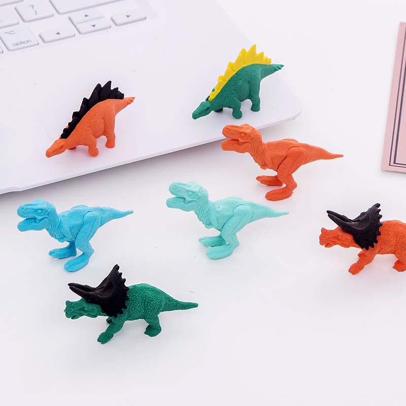 1 Pcs Creative Mini Cute Dinosaur Series Eraser Kawaii Kids  Gift Prize Stationery Student Pencil Correction Erasers