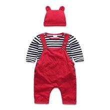 Материал вельвет Младенческой Комплект Одежды Красный Цвет Hat Брюки Белый/Черный Раздели Футболки Детские Высокое Качество Комплекта Обмундирования