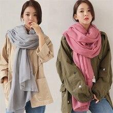 100*180cm women cotton scarf Soft Solid Female Foulard pashmina shawls and