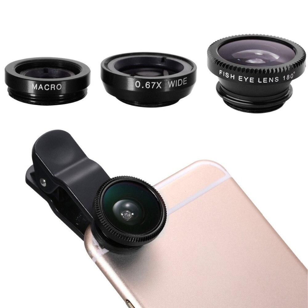 Universal 3in1 Clip Fish Eye Camera Lens Wide Angle Macro Mobile Phone Lens For IPhone 7 6 5 4 Smartphone Fisheye Lenses