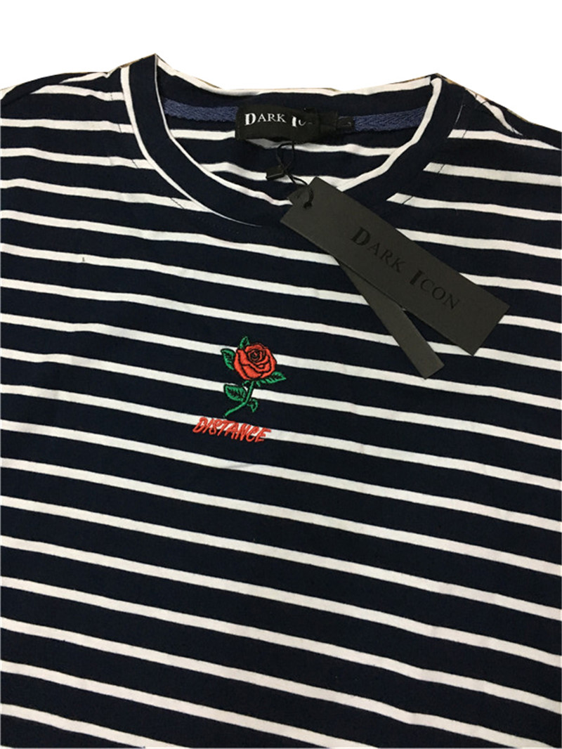 Dark Icon Rose Embroidery Striped Mens T-shirt Short Sleeve 19 Summer Hi-street Oversized Hip Hop Tshirt Cotton Tee Shirts 22