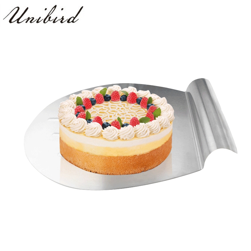 Unibird Stainless Steel Cake Safety Transfer Tray Bread Cookie Moving Plate Pumpkin Pie Server Pizza Blade Shovel Pastry Scraper