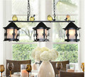Neu 3L Schwarz Vintage Pendelleuchten L75cm LED AC Nördlichen europäischen Industrie Vogel Beleuchtung Für Cafe & Bar Retro Anhänger lampe-in Pendelleuchten aus Licht & Beleuchtung bei
