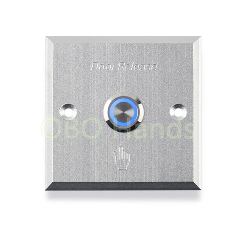 Двери и пуговицы с голубой светодиодной подсветкой Металл Кнопка выхода переключатель двери выпуска для электрический замок Управление до…