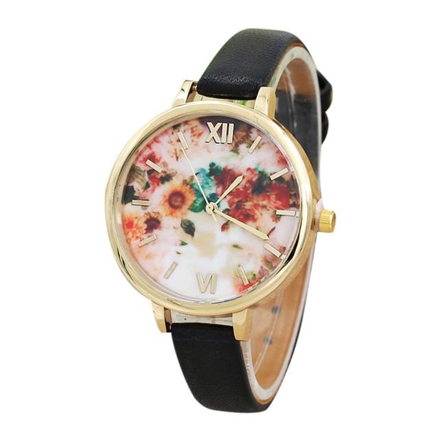 f70d2c62fbb Mulheres Relógios de Moda de Nova Flor Mulheres Pulseira de Couro Quartz  Analógico Relógio de Pulso