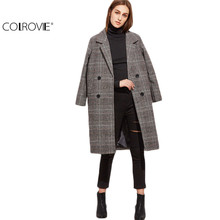 COLROIVE Winter Coat Women Elegant Long Winter Coat Womens Plaid Coat Outerwear Grey Glen Plaid Double Breasted Coat
