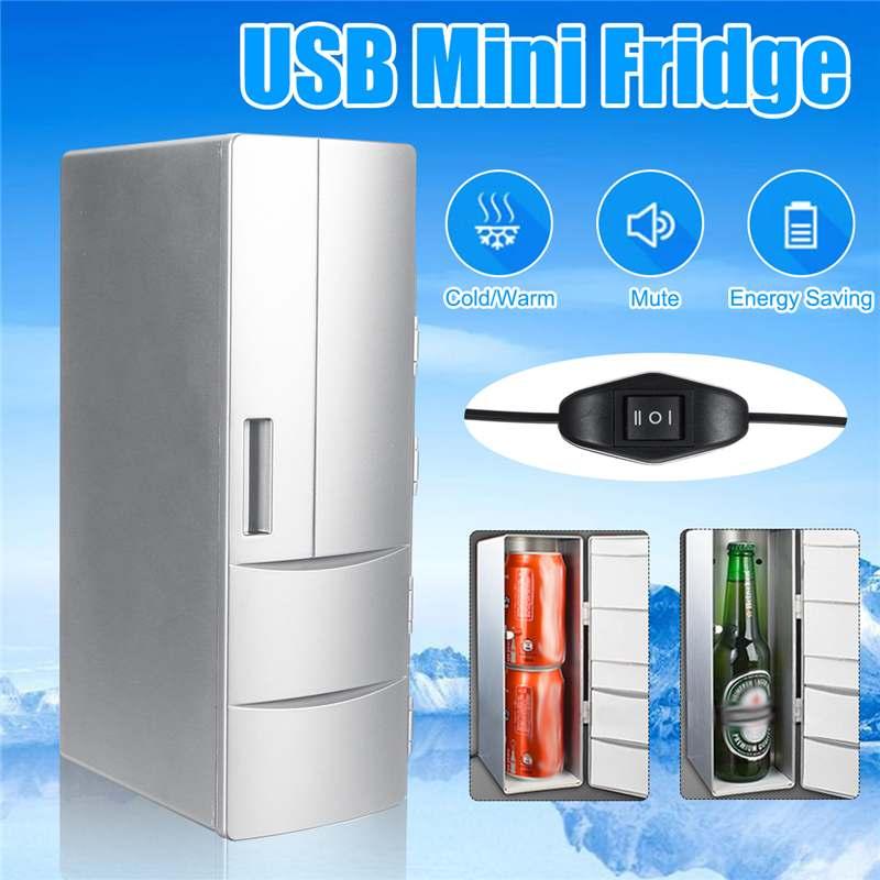 Portable Mini Fridge 5V 500mA Cooler PC Refrigerator Warmer Cooler Beverage Drink Cans Freezer Beer Cooler 10-50 Degrees