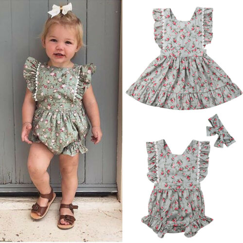 Family Matching Floral Dress Outfit Big/&Little Sister Print Baby Girls 0-4T