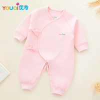 Newborn Baby Belt Rompers Winter Warm Clothes 1 2 3 4 5 6 Months Infants Girls