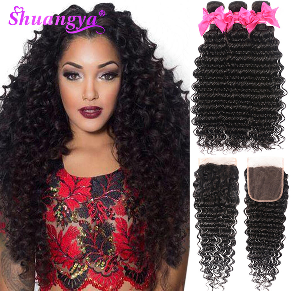 Shuangya Hair Deep Wave Bundles With Closure Remy 3/4 Brazilian Weave 100% Human