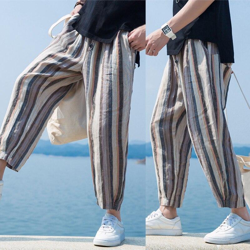INCERUN 2019 Men's Pants Casual Korean Style Stripe Elastic Waist Button Harem Pants Baggy Men Fashion Summer Trousers Plus Size