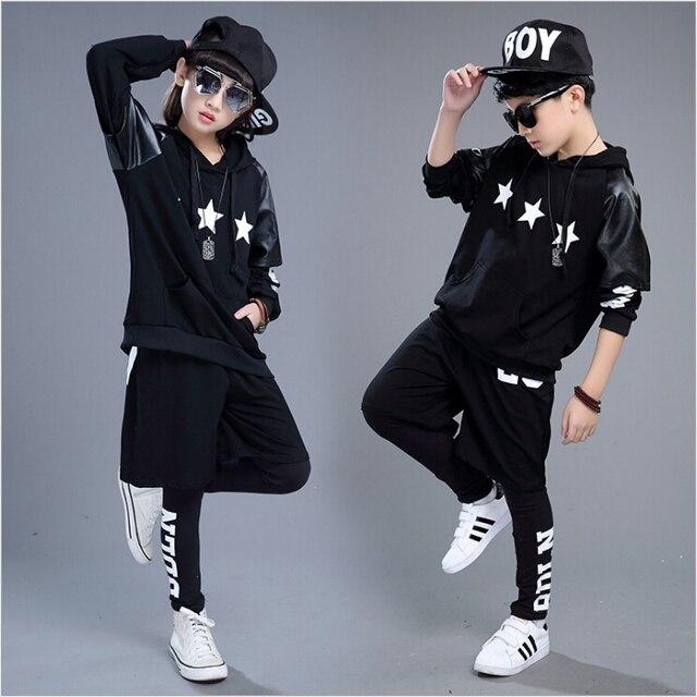 175cd5630 Nueva moda ropa deportiva para niños conjunto niños niñas disfraces cinco  puntas estrella Jazz Hip Hop